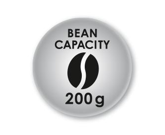 Maksimālais tilpums - 200 g kafijas pupiņu